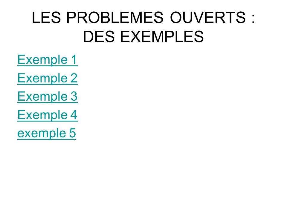 LES PROBLEMES OUVERTS : DES EXEMPLES Exemple 1 Exemple 2 Exemple 3 Exemple 4 exemple 5