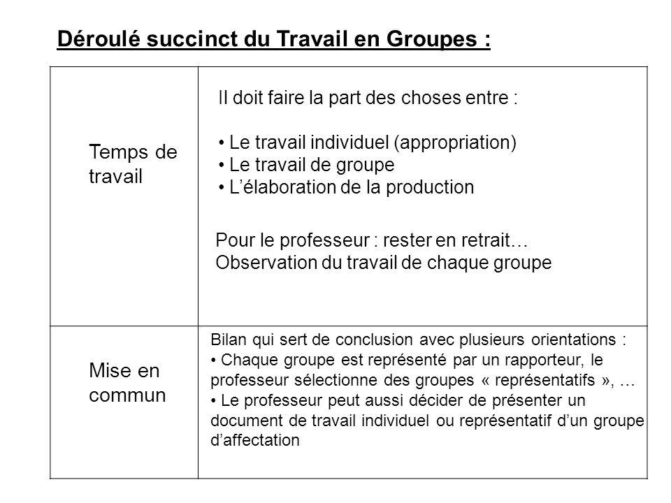 Déroulé succinct du Travail en Groupes : Temps de travail Il doit faire la part des choses entre : Le travail individuel (appropriation) Le travail de