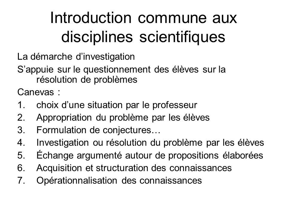 Introduction commune aux disciplines scientifiques La démarche dinvestigation Sappuie sur le questionnement des élèves sur la résolution de problèmes