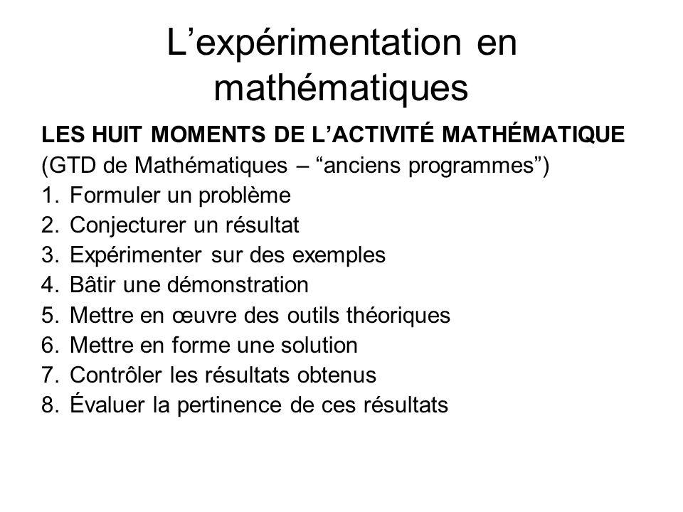 Lexpérimentation en mathématiques LES HUIT MOMENTS DE LACTIVITÉ MATHÉMATIQUE (GTD de Mathématiques – anciens programmes) 1.Formuler un problème 2.Conj