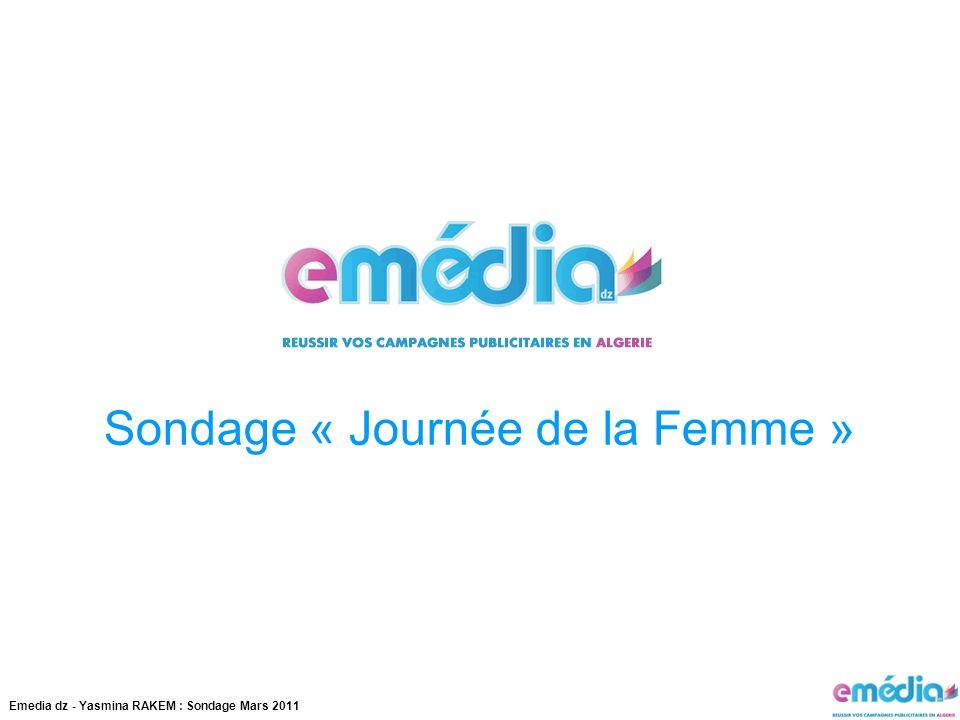 Emedia dz - Yasmina RAKEM : Sondage Mars 2011 Objectif du sondage Ce sondage a pour objectif de mesurer lopinion des internautes sur les conditions de la femme algérienne.