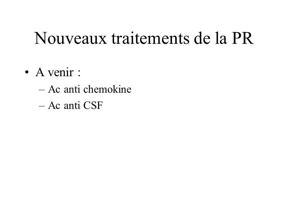 Nouveaux traitements de la PR A venir : –Ac anti chemokine –Ac anti CSF
