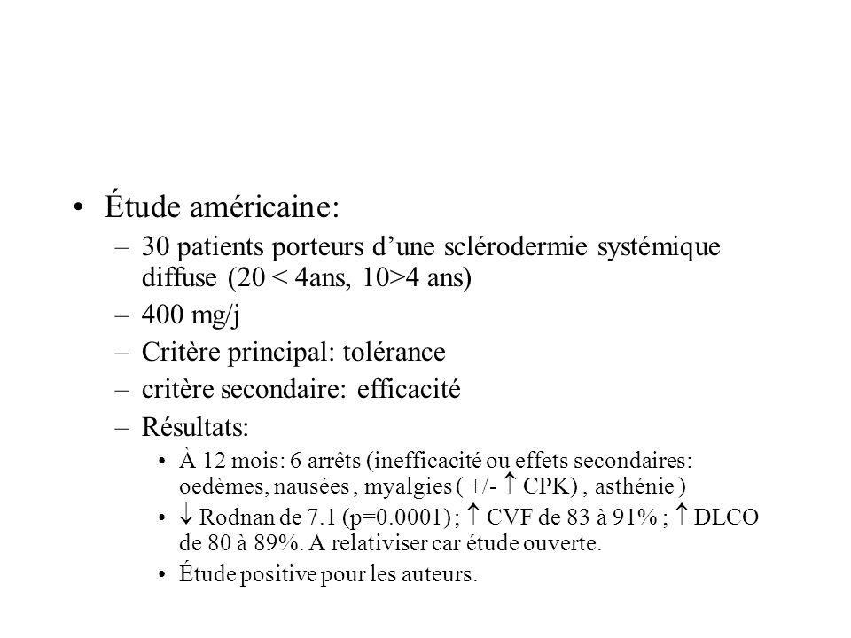 Étude américaine: –30 patients porteurs dune sclérodermie systémique diffuse (20 4 ans) –400 mg/j –Critère principal: tolérance –critère secondaire: e