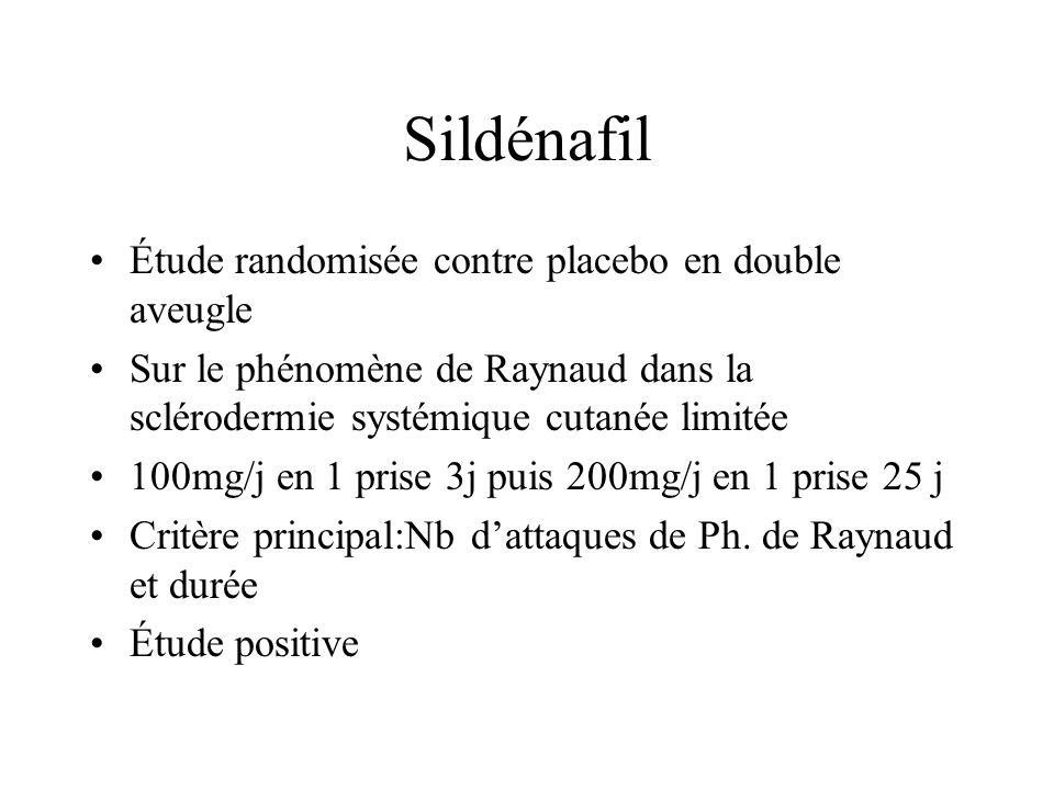 Sildénafil Étude randomisée contre placebo en double aveugle Sur le phénomène de Raynaud dans la sclérodermie systémique cutanée limitée 100mg/j en 1