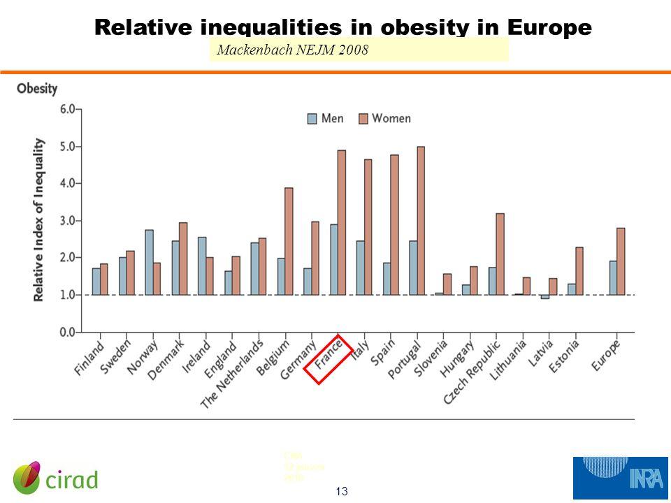 13 CNA 12 janvier 2010 Relative inequalities in obesity in Europe Mackenbach NEJM 2008