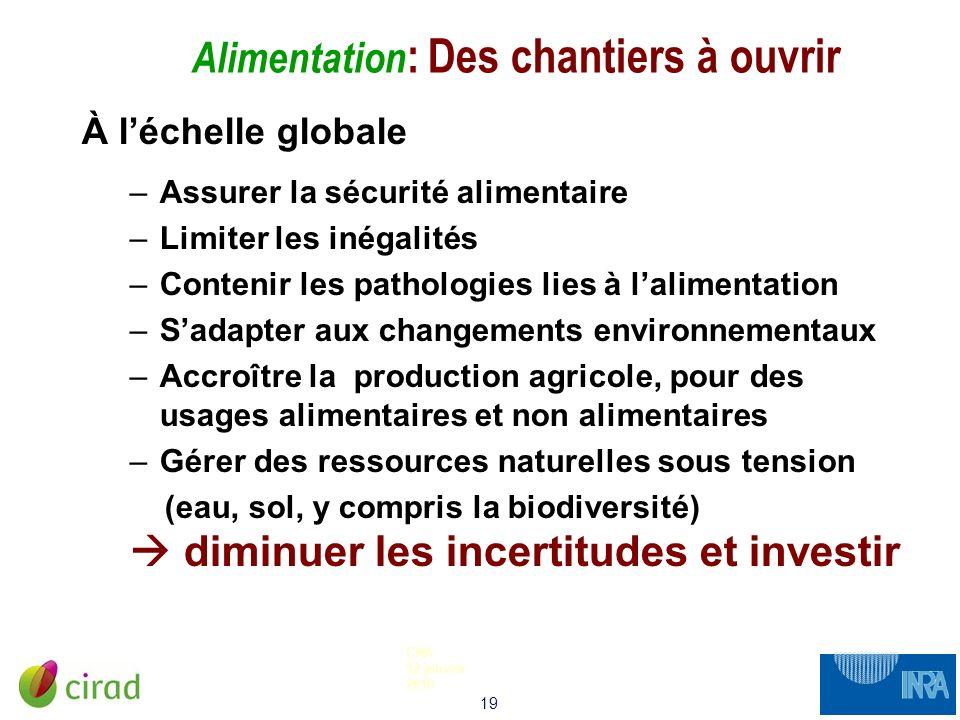 19 CNA 12 janvier 2010 Alimentation : Des chantiers à ouvrir À léchelle globale –Assurer la sécurité alimentaire –Limiter les inégalités –Contenir les