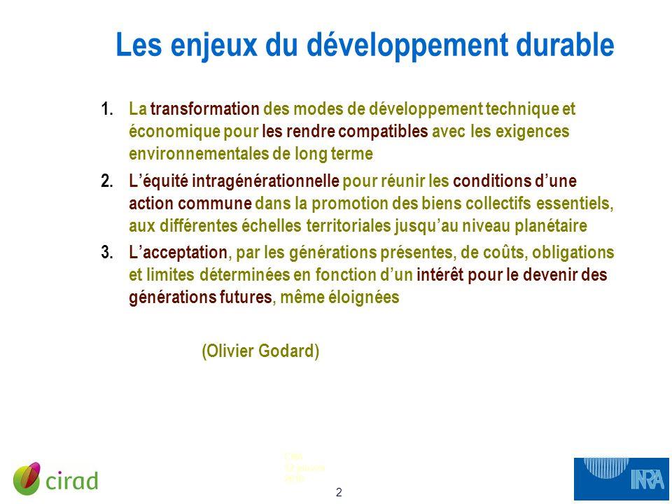 2 CNA 12 janvier 2010 Les enjeux du développement durable 1.La transformation des modes de développement technique et économique pour les rendre compa