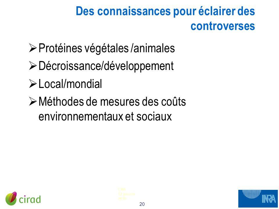 20 CNA 12 janvier 2010 Des connaissances pour éclairer des controverses Protéines végétales /animales Décroissance/développement Local/mondial Méthode