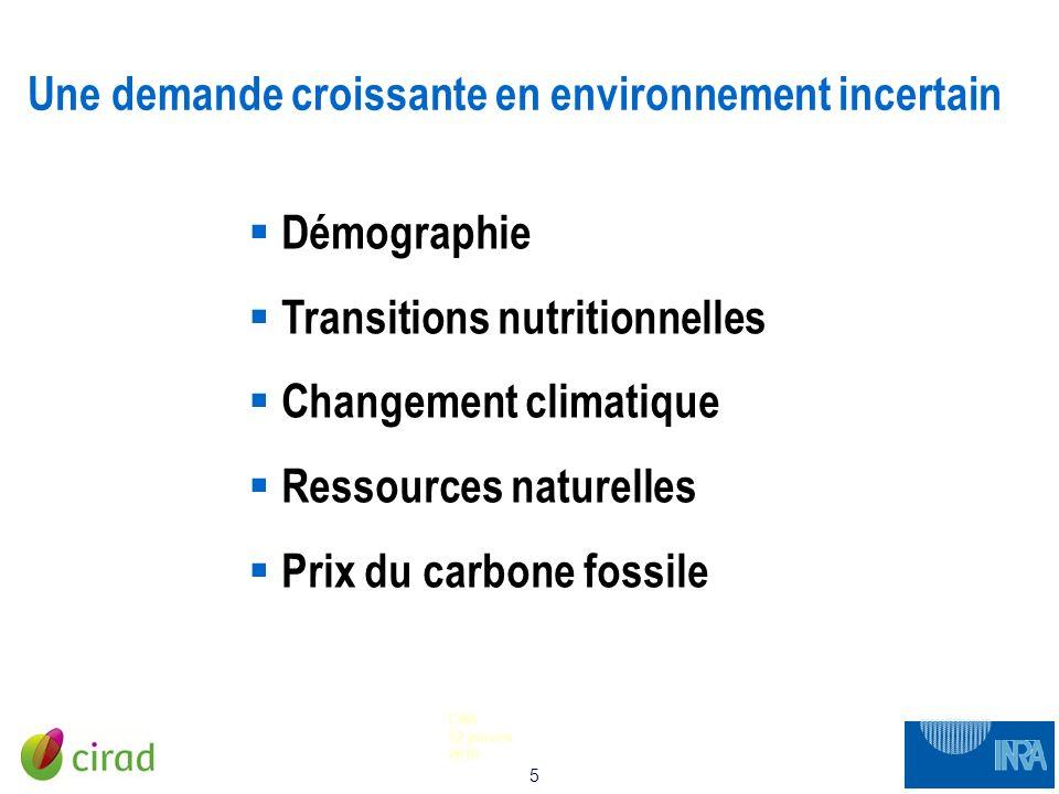5 CNA 12 janvier 2010 Une demande croissante en environnement incertain Démographie Transitions nutritionnelles Changement climatique Ressources natur