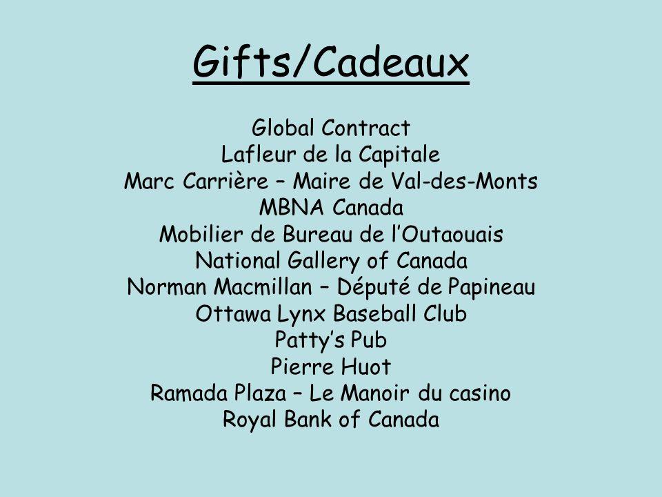 Gifts/Cadeaux Global Contract Lafleur de la Capitale Marc Carrière – Maire de Val-des-Monts MBNA Canada Mobilier de Bureau de lOutaouais National Gall