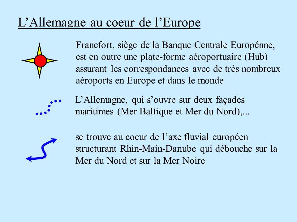 LAllemagne au coeur de lEurope LAllemagne, qui souvre sur deux façades maritimes (Mer Baltique et Mer du Nord),... se trouve au coeur de laxe fluvial