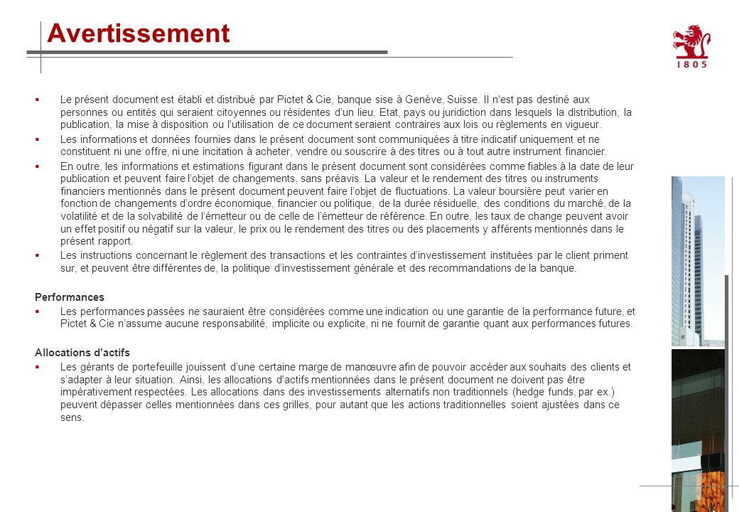 11 Le présent document est établi et distribué par Pictet & Cie, banque sise à Genève, Suisse. Il n'est pas destiné aux personnes ou entités qui serai