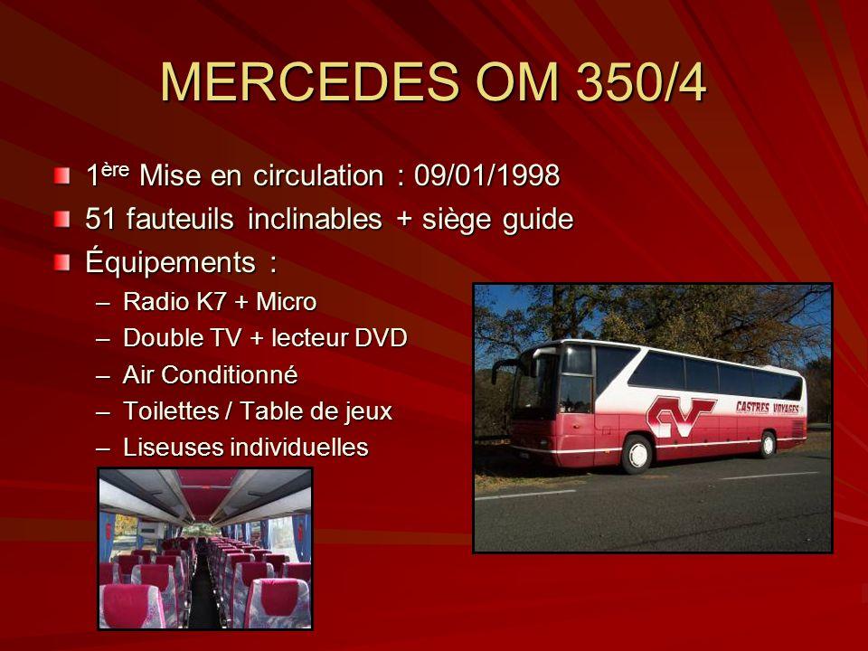 MERCEDES OM 350/4 1 ère Mise en circulation : 09/01/1998 51 fauteuils inclinables + siège guide Équipements : –Radio K7 + Micro –Double TV + lecteur D