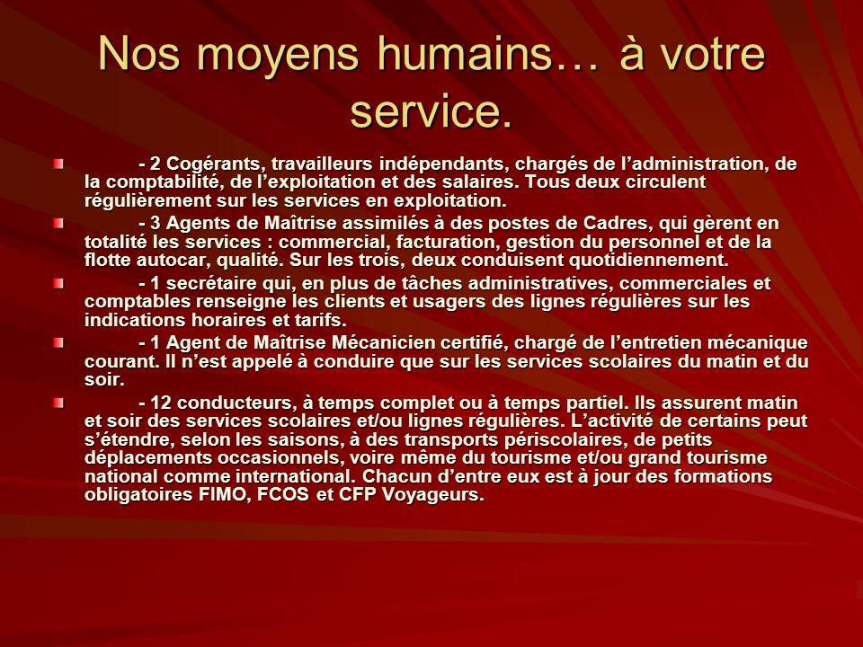 Nos moyens humains… à votre service. - 2 Cogérants, travailleurs indépendants, chargés de ladministration, de la comptabilité, de lexploitation et des