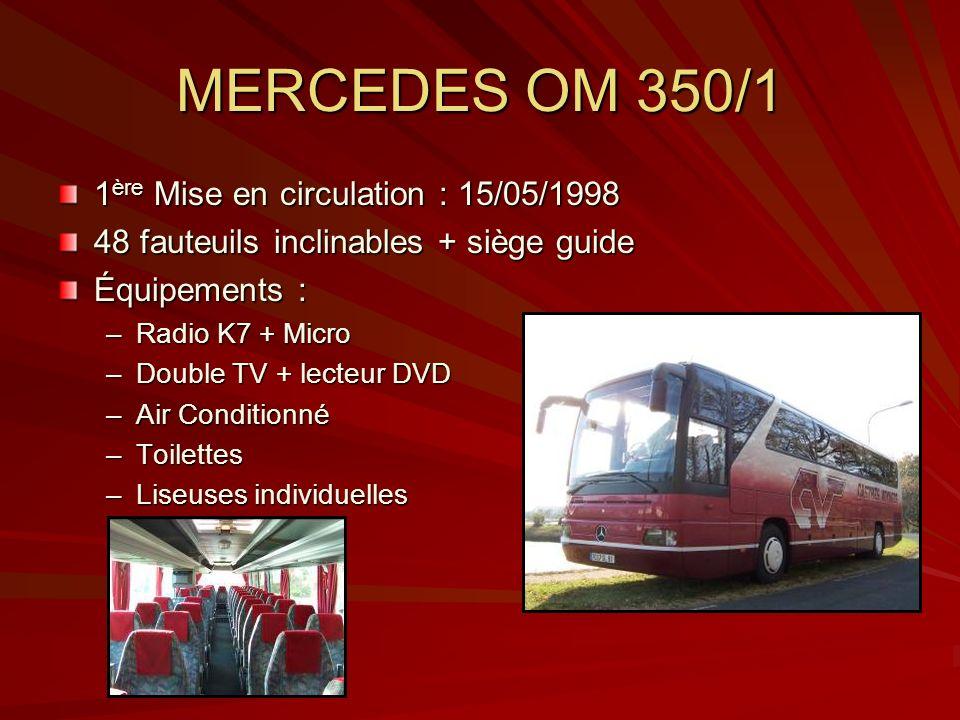 MERCEDES OM 350/1 1 ère Mise en circulation : 15/05/1998 48 fauteuils inclinables + siège guide Équipements : –Radio K7 + Micro –Double TV + lecteur D