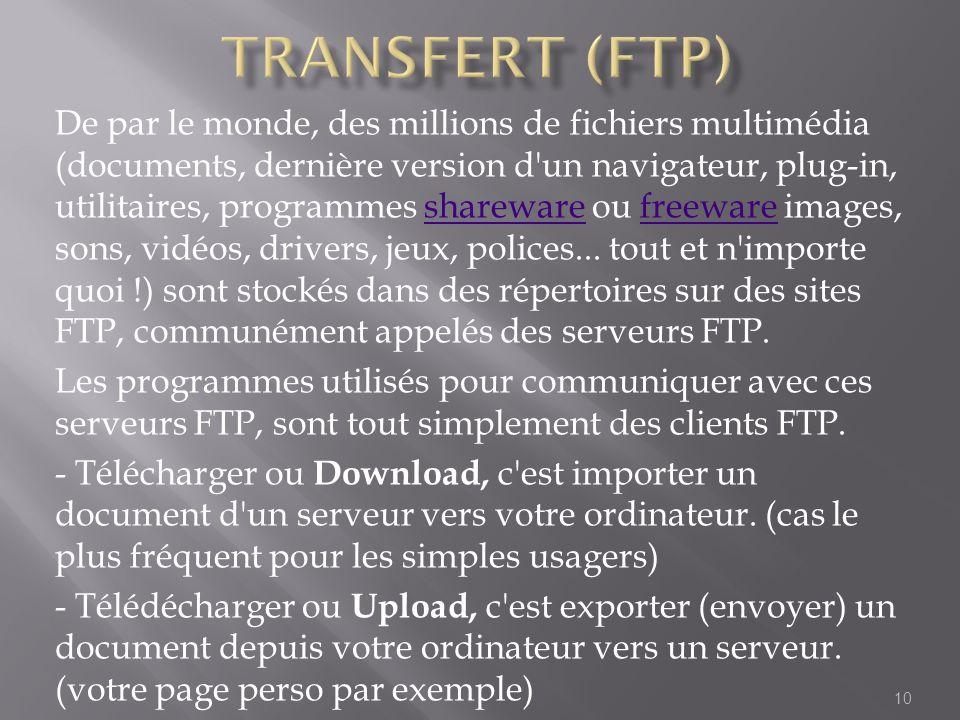 De par le monde, des millions de fichiers multimédia (documents, dernière version d'un navigateur, plug-in, utilitaires, programmes shareware ou freew
