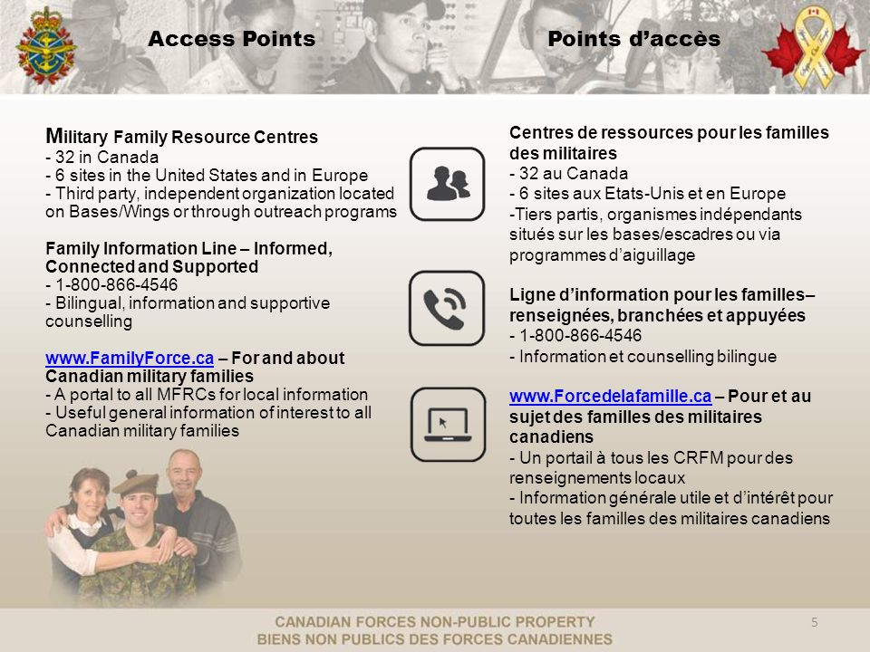 Access PointsPoints daccès M ilitary Family Resource Centres - 32 in Canada - 6 sites in the United States and in Europe - Third party, independent or