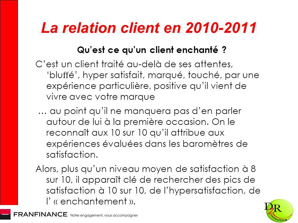 La relation client en 2010-2011 Quest ce quun client enchanté ? Cest un client traité au-delà de ses attentes, blu é, hyper satisfait, marqué, touché,