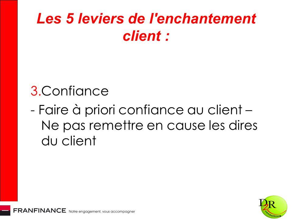 Les 5 leviers de l enchantement client : 3.Confiance - Faire à priori confiance au client – Ne pas remettre en cause les dires du client