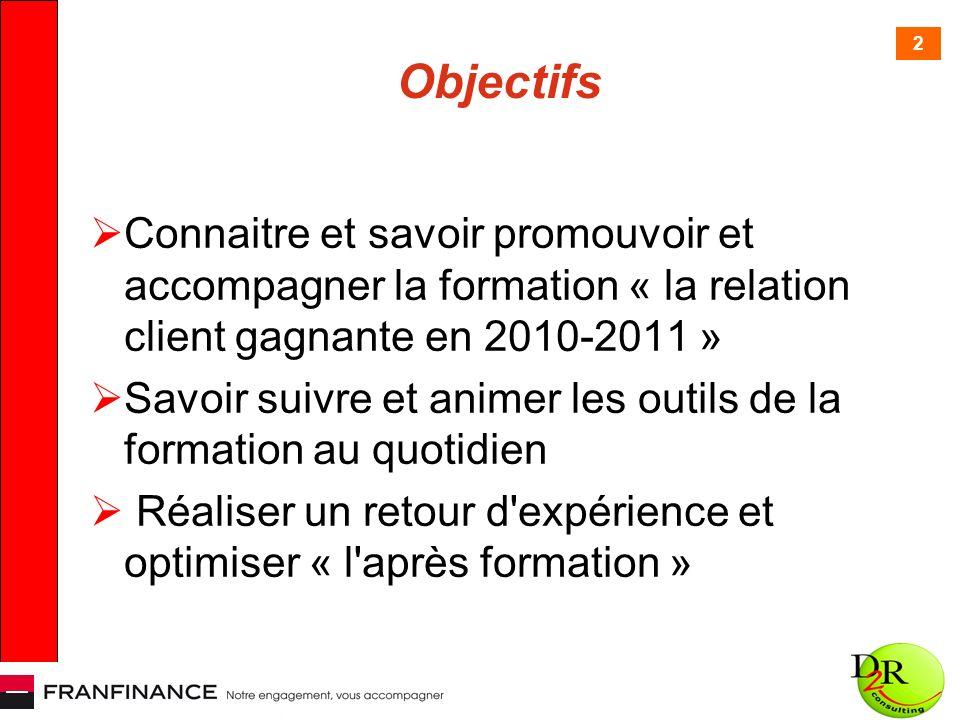 2 Objectifs Connaitre et savoir promouvoir et accompagner la formation « la relation client gagnante en 2010-2011 » Savoir suivre et animer les outils