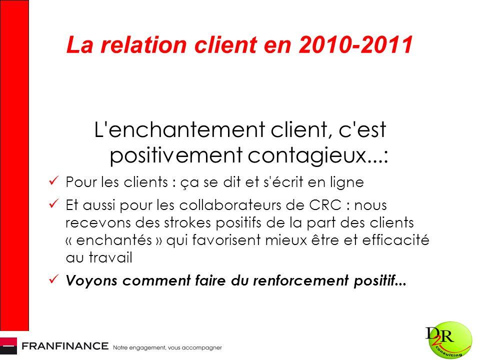 La relation client en 2010-2011 L'enchantement client, c'est positivement contagieux...: Pour les clients : ça se dit et s'écrit en ligne Et aussi pou