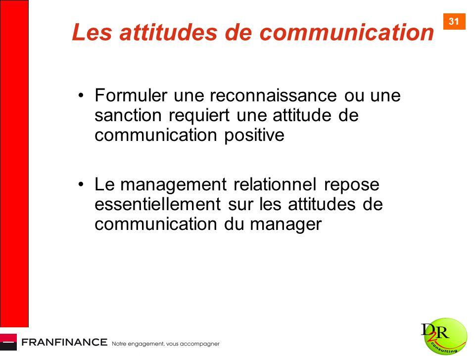 31 Les attitudes de communication Formuler une reconnaissance ou une sanction requiert une attitude de communication positive Le management relationne