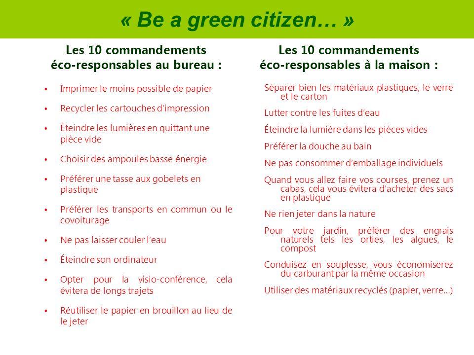 « Be a green citizen… » Imprimer le moins possible de papier Recycler les cartouches dimpression Éteindre les lumières en quittant une pièce vide Choi