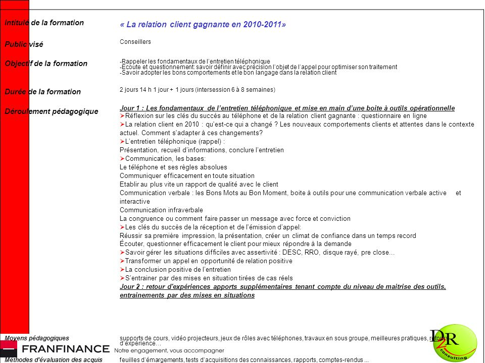 Intitulé de la formation « La relation client gagnante en 2010-2011» Public visé Conseillers Objectif de la formation - Rappeler les fondamentaux de l