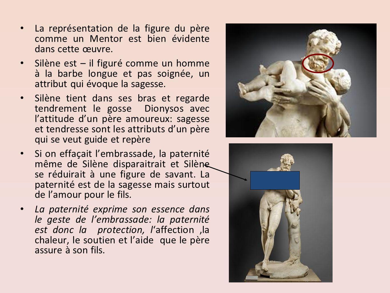 La représentation de la figure du père comme un Mentor est bien évidente dans cette œuvre. Silène est – il figuré comme un homme à la barbe longue et
