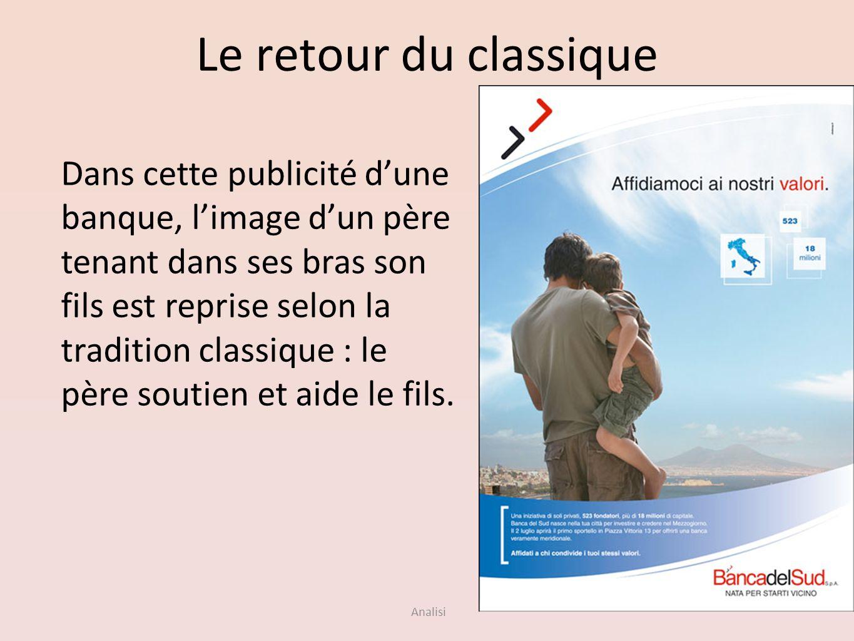 Analisi Le retour du classique Dans cette publicité dune banque, limage dun père tenant dans ses bras son fils est reprise selon la tradition classiqu