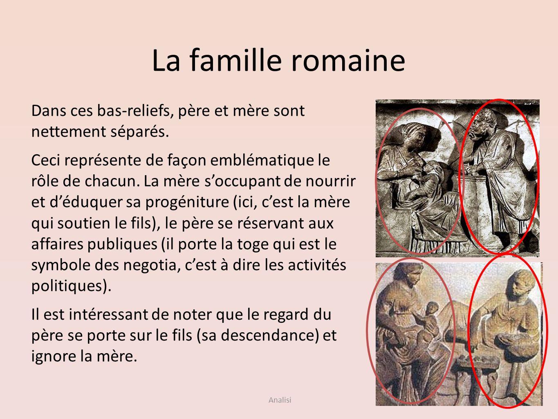 Analisi La famille romaine Dans ces bas-reliefs, père et mère sont nettement séparés. Ceci représente de façon emblématique le rôle de chacun. La mère