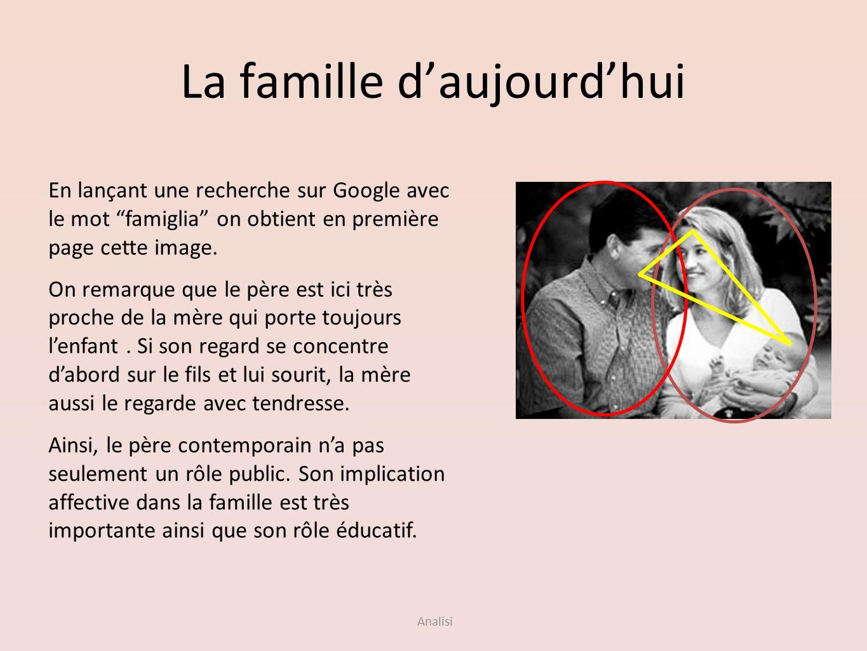 Analisi La famille daujourdhui En lançant une recherche sur Google avec le mot famiglia on obtient en première page cette image. On remarque que le pè