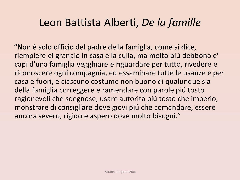 Studio del problema Leon Battista Alberti, De la famille Non è solo officio del padre della famiglia, come si dice, riempiere el granaio in casa e la
