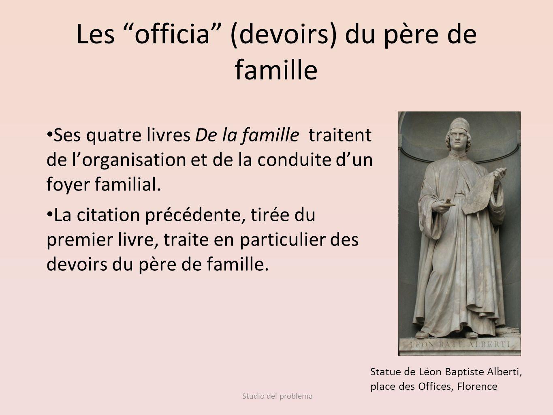 Studio del problema Les officia (devoirs) du père de famille Ses quatre livres De la famille traitent de lorganisation et de la conduite dun foyer fam
