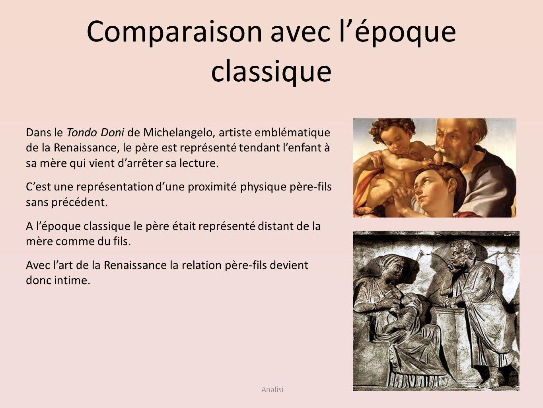 Analisi Comparaison avec lépoque classique Dans le Tondo Doni de Michelangelo, artiste emblématique de la Renaissance, le père est représenté tendant