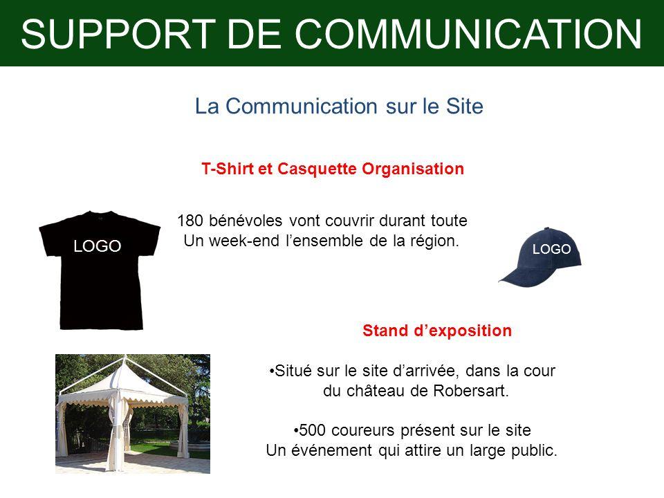 SUPPORT DE COMMUNICATION LOGO La Communication sur le Site T-Shirt et Casquette Organisation 180 bénévoles vont couvrir durant toute Un week-end lense