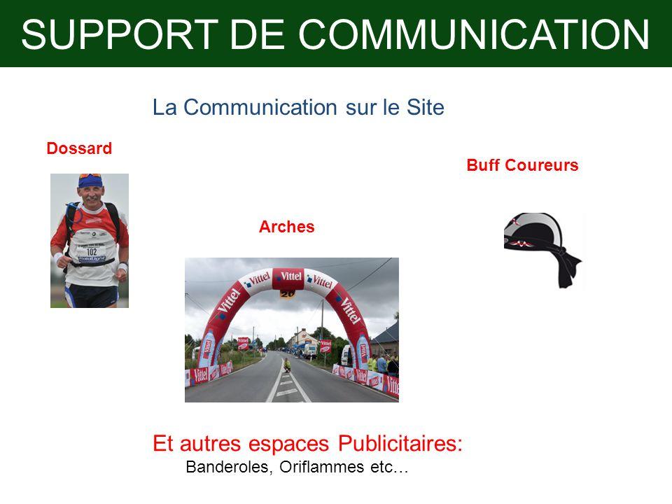 SUPPORT DE COMMUNICATION La Communication sur le Site Dossard Arches Buff Coureurs Et autres espaces Publicitaires: Banderoles, Oriflammes etc…