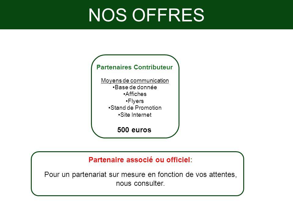 NOS OFFRES Partenaires Contributeur Moyens de communication Base de donnée Affiches Flyers Stand de Promotion Site Internet 500 euros Partenaire assoc