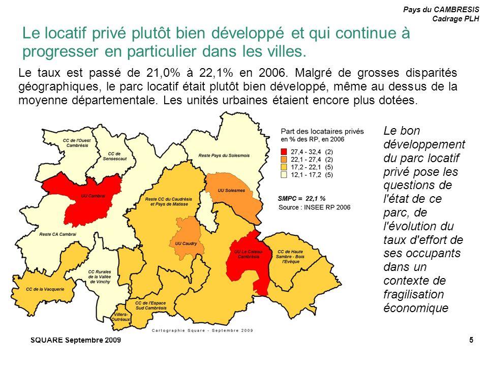 Pays du CAMBRESIS Cadrage PLH SQUARE Septembre 20095 Le taux est passé de 21,0% à 22,1% en 2006. Malgré de grosses disparités géographiques, le parc l