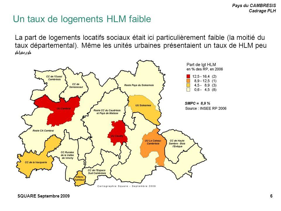Pays du CAMBRESIS Cadrage PLH SQUARE Septembre 20096 La part de logements locatifs sociaux était ici particulièrement faible (la moitié du taux départ