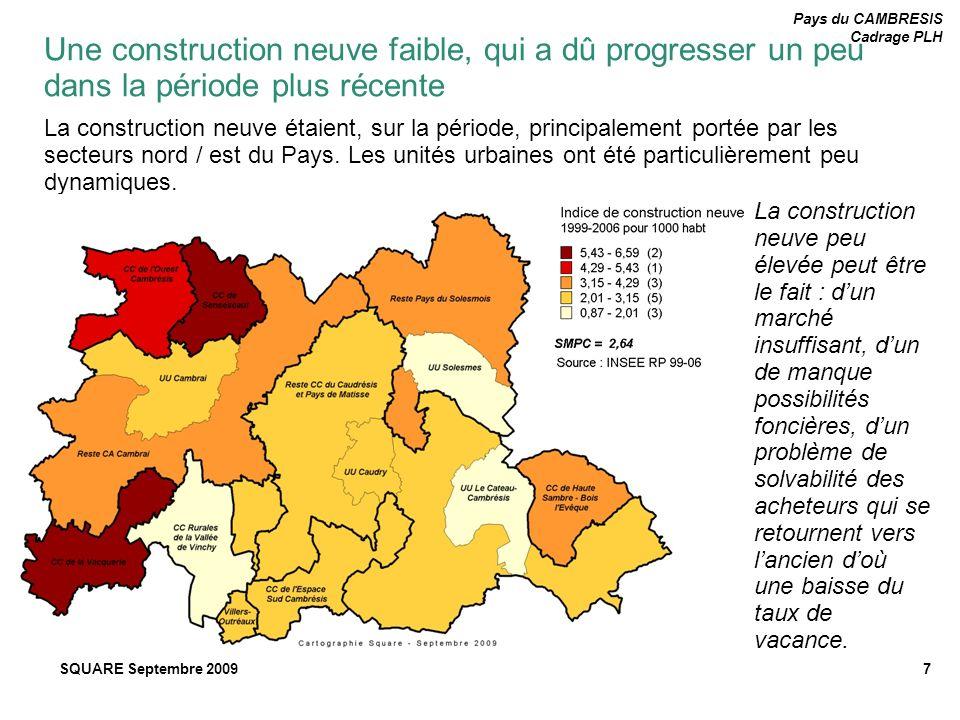 Pays du CAMBRESIS Cadrage PLH SQUARE Septembre 20098 Même si le taux de vacance diminue, le nombre de logements vacant reste stable (autour de 5 000).