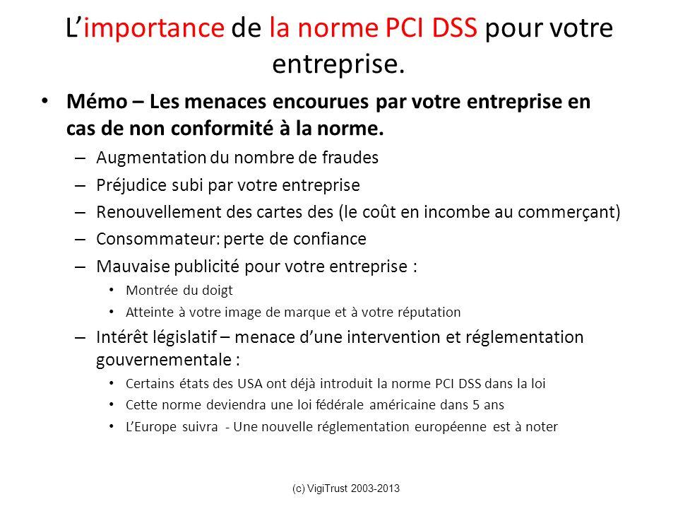 Limportance de la norme PCI DSS pour votre entreprise. Mémo – Les menaces encourues par votre entreprise en cas de non conformité à la norme. – Augmen