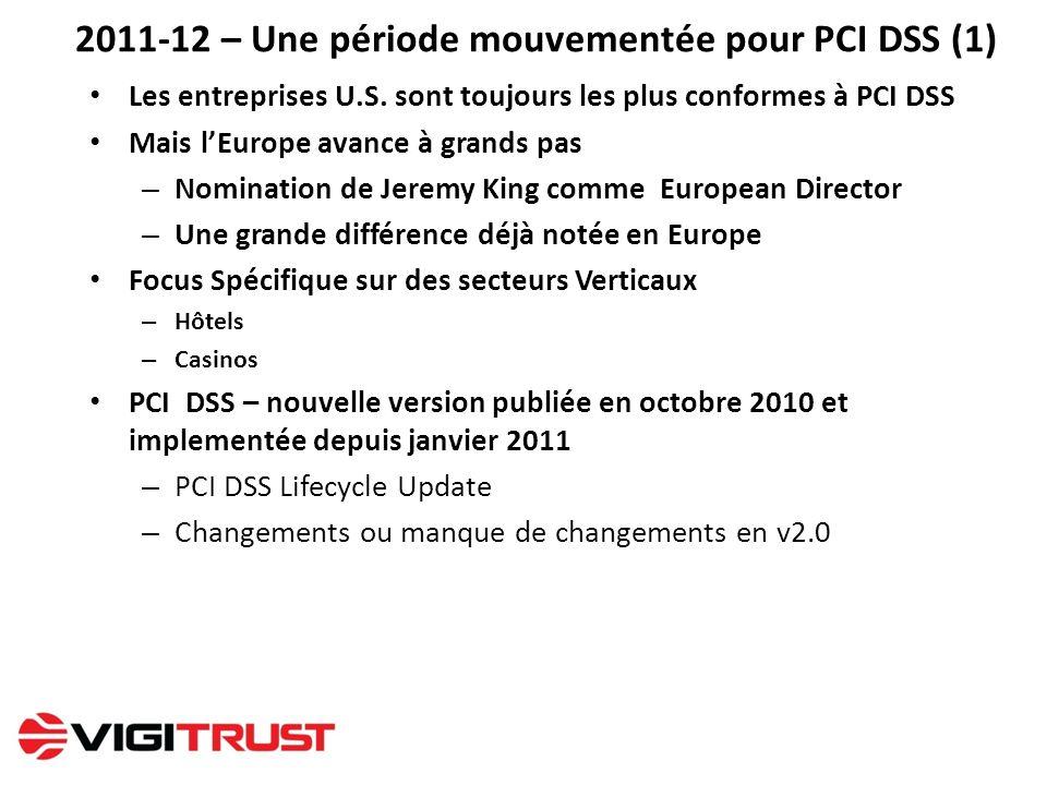 2011-12 – Une période mouvementée pour PCI DSS (1) Les entreprises U.S. sont toujours les plus conformes à PCI DSS Mais lEurope avance à grands pas –