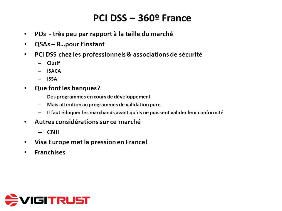 PCI DSS – 360º France POs - très peu par rapport à la taille du marché QSAs – 8…pour linstant PCI DSS chez les professionnels & associations de sécuri
