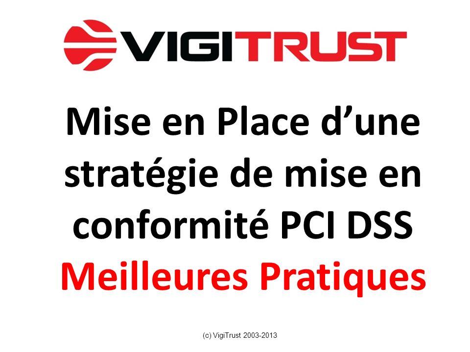 Mise en Place dune stratégie de mise en conformité PCI DSS Meilleures Pratiques (c) VigiTrust 2003-2013
