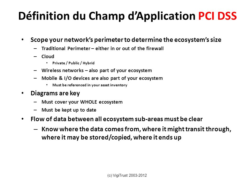 Définition du Champ dApplication PCI DSS Scope your networks perimeter to determine the ecosystems size – Traditional Perimeter – either in or out of