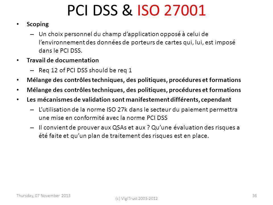 PCI DSS & ISO 27001 Scoping – Un choix personnel du champ dapplication opposé à celui de lenvironnement des données de porteurs de cartes qui, lui, es