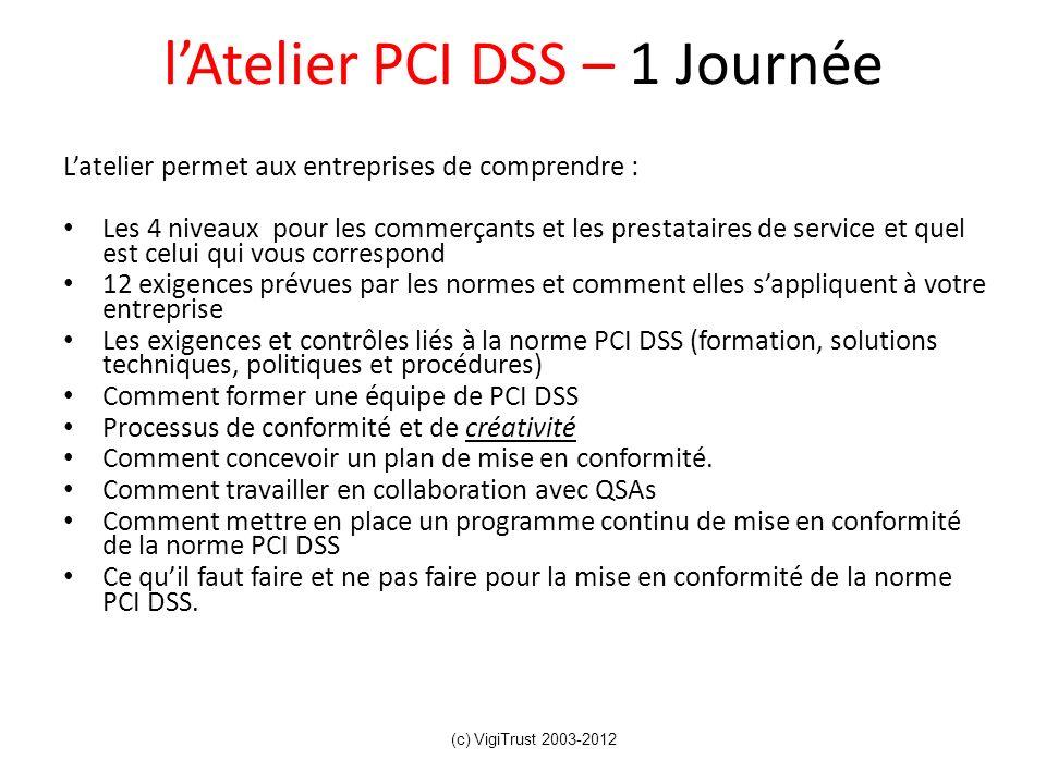 lAtelier PCI DSS – 1 Journée Latelier permet aux entreprises de comprendre : Les 4 niveaux pour les commerçants et les prestataires de service et quel