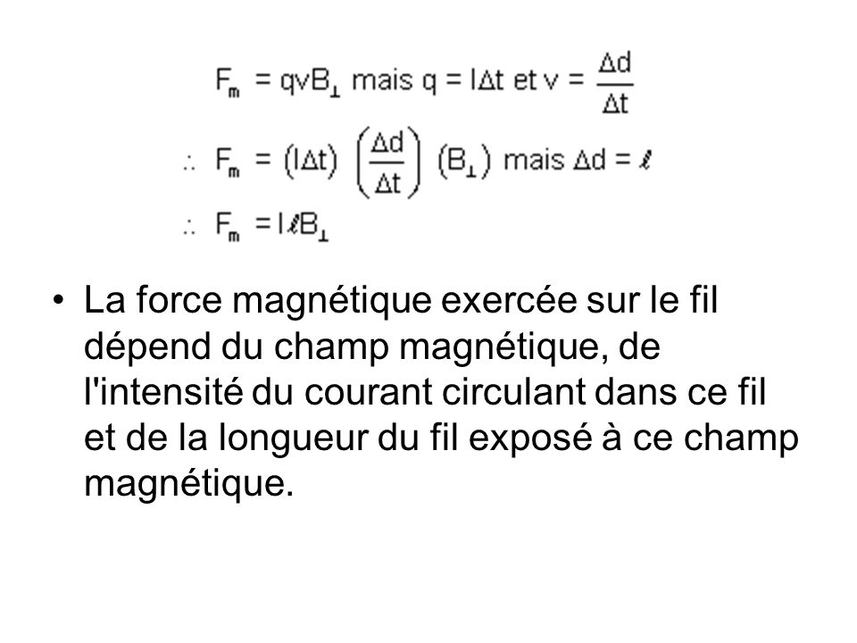 La force magnétique exercée sur le fil dépend du champ magnétique, de l'intensité du courant circulant dans ce fil et de la longueur du fil exposé à c