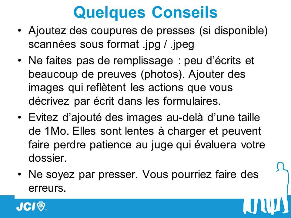 Quelques Conseils Ajoutez des coupures de presses (si disponible) scannées sous format.jpg /.jpeg Ne faites pas de remplissage : peu décrits et beauco